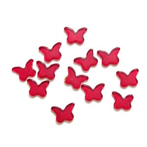 Dark Red Butterflies Decorative Glass Shapes