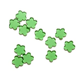 Green Flowers Decorative Glass Shapes