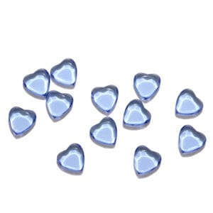 Light Blue Hearts Decorative Glass Pieces